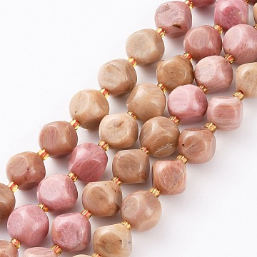 Natural Rhodochrosite Beads Strands, with Seed Beads, Six Sided Celestial Dice, Faceted, 8~8.5x8~8.5mm, Hole: 1mm, about 40pcs/strand, 15.75 inches(40cm)(G-A030-B25-8mm)