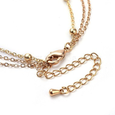 Cowrie Shell and Plated Natural Baroque Pearl Keshi Pearl Tiered Necklaces(X-NJEW-JN02389)-4