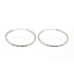 sterling boucles d'oreilles en argent, platine, 40x1.7 mm; broches: 0.8 mm(EJEW-L202-001P)