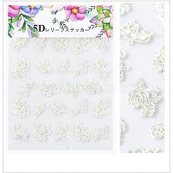5D Nail Art Water Transfer Stickers Decals, Flower, Creamy White, 8.2x6.4cm(MRMJ-S008-084B)