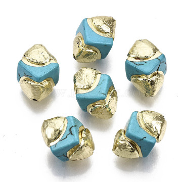 Synthetic Turquoise Beads, with Electroplate Polymer Clay, Polygon, 14~15x10~12x10~12mm, Hole: 0.9mm(X-G-S260-14C-01)