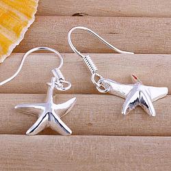 Laiton pendentif boucles d'oreilles étoiles de haute qualité, argenterie, 30x12mm(EJEW-BB11913)