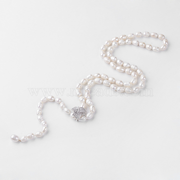 Natural Pearl Beaded Necklaces, with Cubic Zirconia Clasps, Flower, Seashell Color, 29.1inches(74cm)(NJEW-R249-03)