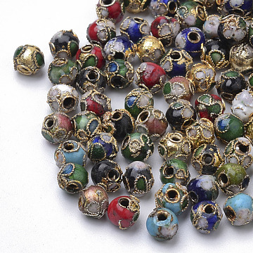 Handmade Cloisonne Beads, Round, Mixed Color, Round, 6mm(+-0.5~1mm), hole: about 1~1.5mm(X-CLB6mm-M)
