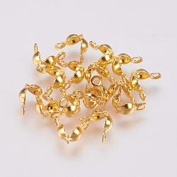perle en laiton conseils, calotte se termine, couverture de noeud à clapet, or, 8x4 mm, trou: 1.4 mm(KK-J202-56G)