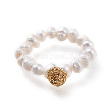 Natural Cultured Freshwater Pearl Stretch Rings, with Eco-Friendly Copper Wire Copper Beading Wire, Packing Box, Golden, Size 7, 17mm(RJEW-JR00302-01)