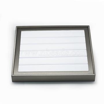 Plastic Ring Displays, Rectangle, White, 30x26x3.7cm(RDIS-Q019-01)