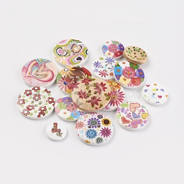 Printed Wooden Buttons, 2-Hole/4-Hole, Dyed, Flat Round, Mixed Color, 15~29.5x3.5~4mm, Hole: 2~2.5mm(BUTT-MSMC001-01)