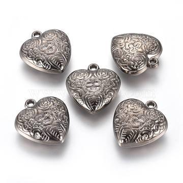 CCB Plastic Pendants, Heart with Flower, Gunmetal, 26.5x24.5x8mm, Hole: 2mm(CCB-G006-024B)