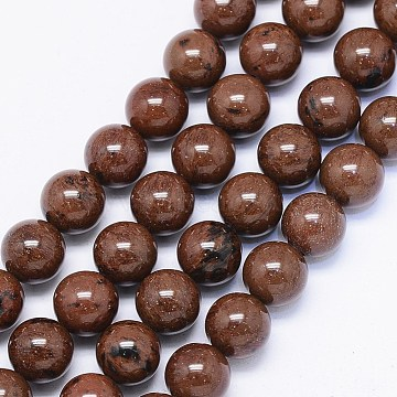Natural Mahogany Obsidian Bead Strands, Round, 8mm, Hole: 1mm; about 50pcs/strand, 15.74 inches(X-G-F425-01)
