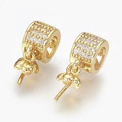 Laiton micro pavé zircone cubique peg bails pendentifs, pour la moitié de perles percées, clair, or, 17mm, Trou: 5mm(KK-L165-17G)