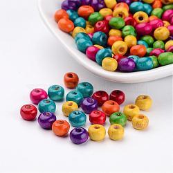 200 pcs perles rondes en bois sans plomb mélangés, teint,  largeur de 6 mm, hauteur de 5 mm , Trou: 1.5mm(X-TB092MY)