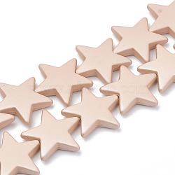 Perles acryliques de style caoutchouté, étoiles, lightsalmon, 26x28x6mm, Trou: 1.5mm(MACR-T011-16E)