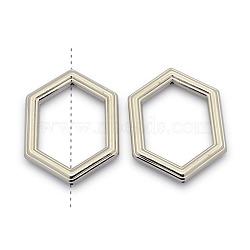 Cadres de perles en plastique ccb, anneau hexagonal, platine, 53x39x6mm, trou: 1 mm; diamètre intérieur: 27x40 mm(CCB-J027-02P)