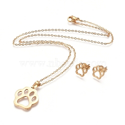 304 Stainless Steel Pendant Necklaces and Stud Earrings, with Cable Chains, Lobster Claw Clasps and Ear Nuts, Dog Paw Prints, Golden, 17.32inches(44cm); 10x10mm(X-SJEW-E336-01G)