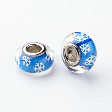 Resin European Beads, Christmas Theme, Large Hole Rondelle Beads, with Snowflake Pattern and Brass Double Cores, Silver Color Plated, Deep Sky Blue, 14x8mm, Hole: 5mm(X-RPDL-H003-01A)