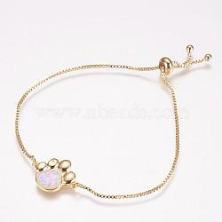 bracelets bolo réglables en laiton, bracelets de slider, avec opale synthétique, griffe, or, rose, 8-3 / 8 (212 mm); 1 mm; 14x18x2 mm(BJEW-E333-06G-A)