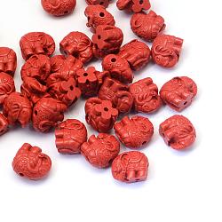 Elephant Cinnabar Beads, FireBrick, 12x14~15x8.5mm, Hole: 2mm(CARL-Q003-27)