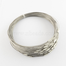 Création de bracelet en fil d'acier bijoux bricolage, avec du laiton fermoir à vis, darkgray, 225x1mm(TWIR-R004-23)