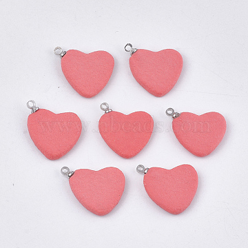 Handmade Porcelain Pendants, Frosted, with Brass Findings, Heart, Platinum, Salmon, 16x18~19x3mm, Hole: 1.5mm(PORC-T002-87A)