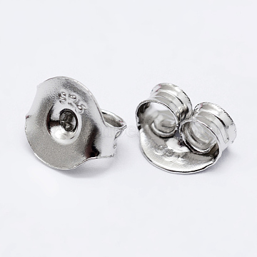 925 Sterling Silver Ear Nuts, Carved 925, Platinum, 6x6.5x3.5mm, Hole: 1mm(X-STER-K167-041P)