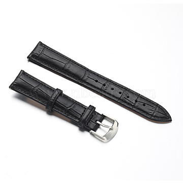 Leather Watch Bands, with Stainless Steel Clasps, Black, 88x18x2mm, 125x16x2mm(WACH-M140-18#-02)