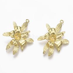 Liens en laiton piquets, pour la moitié de perles percées, sans nickel, fleur, non plaqué, 39.5x27x11mm, trou: 2 mm; broches: 1 mm(KK-T040-157-NF)