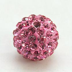 Perles de strass en argile polymère, Perles de boule pavé disco , Grade a, rond, pp 15, rose, 10mm, Trou: 1.8~2mm(X-RB-C1438-10mm-A23)