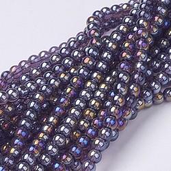 billes de verre brins, pour la fabrication de bijoux en perles, arrondir, ab couleur plaquée, darkslateblue, 6 mm, trou: 1 mm; environ 50 perle / brin, 13(X-GR6mm-06Y-AB)