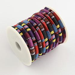 Cordon ethnique cordon en tissu, colorées, 6~7 mm; environ 8 m/rouleau(OCOR-Q003-04)