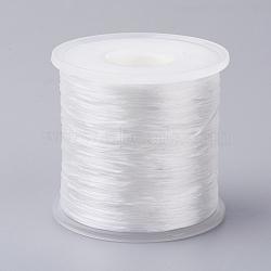 chaîne en cristal élastique plat japonais, fil de perles élastique, pour la fabrication de bracelets élastiques, blanc, 0.5 mm; sur 300 m / rouleau(EW-G004-0.5mm-14)