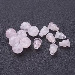 De style buddha rose perles de quartz jeux, 3-trous rond et courge, pour la création des bijoux buddha  , rose, environ 10 mm de diamètre, trou: 1.5 mm; perles de courge: 8x6 mm(G-D382-10mm-09)