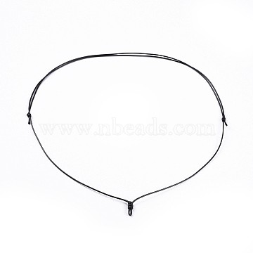 Adjustable Korean Waxed Polyester Cord Necklace Making, Black, 33.7 inches(85.6cm), 1mm(X-AJEW-JB00493-01)