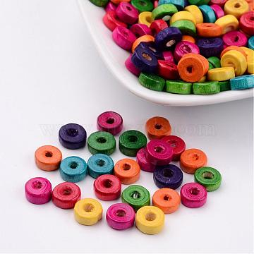 Lead Free Flat Round Natural Wood Beads, Dyed, 8x3mm, hole: about 2mm(X-YTB021)