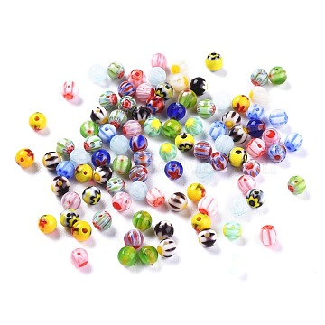 Handmade Millefiori Glass Round Beads, Mixed Color, 4mm, Hole: 1mm(X-LAMP-J038-4mm-M)