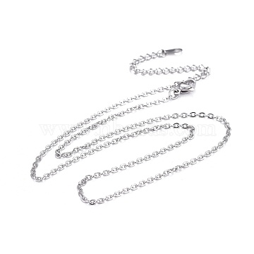 304 Stainless Steel Necklaces, Cable Chain Necklaces, Stainless Steel Color, 16.26inches(41.3cm)(X-NJEW-E080-13P-01)