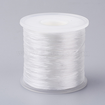 Japanese Flat Elastic Crystal String, Elastic Beading Thread, for Stretch Bracelet Making, White, 0.5mm, about 328.08 yards(300m)/roll(EW-G004-0.5mm-14)