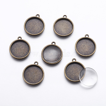 DIY Pendant Making, with Tibetan Style Alloy Pendant Cabochon Settings and Glass Cabochons, Flat Round, Antique Bronze, 27x23x3mm, Hole: 2mm, tray: 20mm; , 2pcs/set(DIY-X0292-04AB)