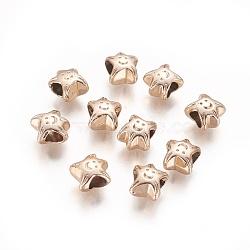 alliage européennes grosses perles de trous, étoiles, or, 10x10x6 mm, trou: 4.5 mm(PALLOY-E488-23G)