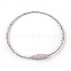 """Bracelet en fil d'acier faisant, avec fermoirs en laiton, gris clair, 6-1/8"""" (15.5cm) ~ 6-1/4"""" (16cm)(MAK-F025-B08)"""
