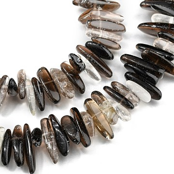 Natural Smoky Quartz Beads Strands, Tusk Shape, 12~26x6~8x4~7mm, Hole: 0.7mm, 15.35 inches(39cm)(G-I292-02)