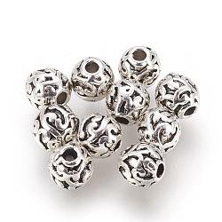 Perles en alliage, rond, argent antique, 6mm, Trou: 1.6mm(PALLOY-E454-63AS)