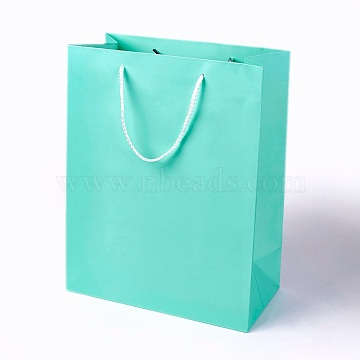Kraft Paper Bags, with Handles, Gift Bags, Shopping Bags, Rectangle, Aquamarine, 32x25x13.2cm(AJEW-F005-01-D01)