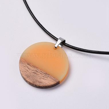 Resin & Wood Pendant Necklaces(NJEW-JN02332-04)-2
