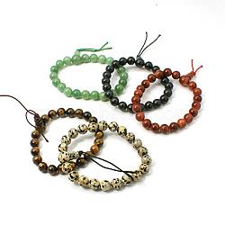 Gemme de bouddha perles bracelets, rond, couleur mixte, environ 54~68 mm de diamètre intérieur, perles: 8~10 mm(BJEW-I071-M)