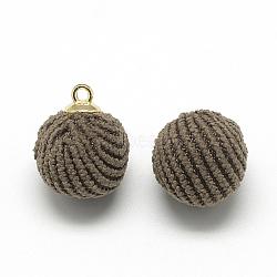 подвески из вельветовой ткани, с выводами латунных золотой тон, вокруг, кофе, 14x10~11 mm, отверстия: 1.5 mm(WOVE-S084-50A)