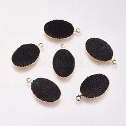 Pendentifs en laiton, de velours, ovale, véritable plaqué or, noir, 18x12x3mm, Trou: 1mm(KK-P138-11F)