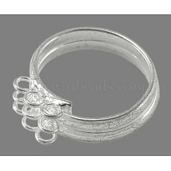 Loop Ring Bases, Brass, Silver Color Plated, about 17mm inner diameter(X-EC543-3S)