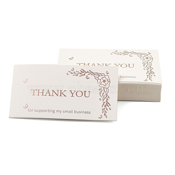 Thank You for Supporting My Small Business Card, for Decorations, Rectangle, Word, 90x50x0.4mm, 50pcs/bag(DIY-L035-018G)