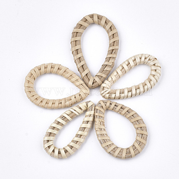 39mm AntiqueWhite Drop Rattan Linking Rings